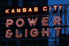 Kansas City Power & Light Sign (keith bissett) Tags: city light usa tourism sign us neon power unitedstates historic mo missouri signage area kansas nightlife powerlight canonslr canon100mmlens canonprimelens