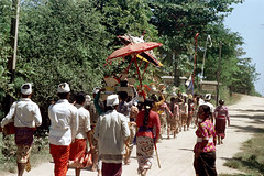 25-708 (ndpa / s. lundeen, archivist) Tags: road people bali color film umbrella 35mm indonesia nick parasol 25 southpacific balance dirtroad local procession 1970s umbrellas 1972 balancing indonesian parasols offerings balinese dewolf oceania pacificislands nickdewolf photographbynickdewolf ontheirheads reel25 beachprocession