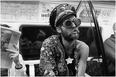 Space Cadet (mesonparticle) Tags: man london hat underground beard goggles londonunderground beatnik spacecadet thetube northernline steampunk spacedout convexlens