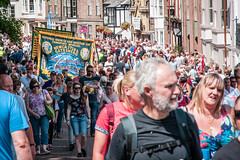 Durham Miner's Gala (Cerdic Elesing) Tags: england bird durham unitedkingdom object banner marching gala crowds tuc countydurham minersgala bigmeeting rmt durhamminersassociation kodakektar xequals