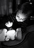 Boxing day (Yewbert The Omnipotent) Tags: toronto canada lightroom light bw blackwhite baby toddler portrait toy nikon d750 tamron cute
