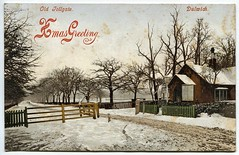 Old Tollgate Dulwich London postcard (1905) (The Wright Archive) Tags: christmas greetings vintage postcard edwardian old tollgate dulwich london uk snow trees winter scene emily miss talbot westbourne place mumbles history england wright archive 1900s