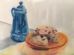 Deb's Scones (Handwork Naturals) Tags: scones kitchen cooking watercolor painting dailypainting tea teatime hudsonvalley