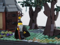 The Hermit (W. Navarre) Tags: lego ccc woodland hideaway hut hovel house trees tree path stone tudor chimney light yellow flesh