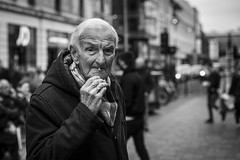 To The Very End (Leanne Boulton) Tags: people monochrome depthoffield urban street candid portrait portraiture streetphotography candidstreetphotography candidportrait streetlife eyecontact candideyecontact streetportrait elderly old age man male face facial expression look emotion feeling mood smoke smoker smoking cigarette tone texture detail bokeh natural outdoor light shade shadow naturallight city scene human life living humanity society culture canon 5d canon5dmkiii 70mm character ef2470mmf28liiusm black white blackwhite bw mono blackandwhite glasgow scotland uk
