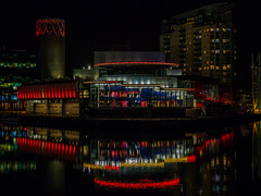 Lowry Lights (jerryms) Tags: salford quays night shot photo water reflection dark hand held omd em 5 panasonic 35100 28 manchester greater lights color colour bbc itv media city lit up illumination