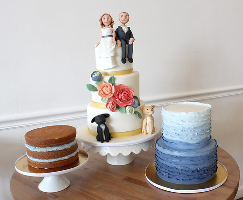 Bride Groom Pets Wedding Cakes Trio