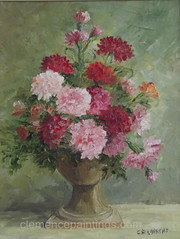 Carnations - oil - 10 x 8 (ra6mina) Tags: bouquet flowers carnations redcarnations pinkcarnations vase flowerbud oilpainting
