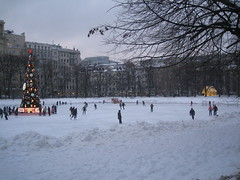 cityscape in winter (VERUSHKA4) Tags: city cityscape canon moscow europe russia skatingrink skating people winter view ville vue hiver january day fun christmas holiday firtree house tree building architecture hccity bough branch lighting gold