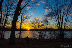 Contemplation (E. Aguedo) Tags: sunset sky warwick winter pond water colors clouds trees park rhode island ngc new england