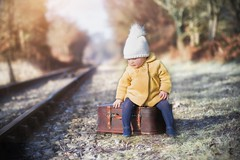 Daily Commute (Windermere Images) Tags: railway child girl fun play suitcase love hats winter january model cute baby trees wales dream