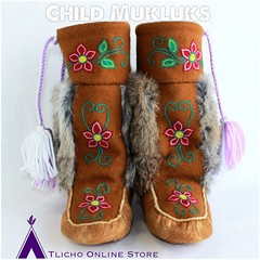 #Tlicho Child #mukluks made by the #Whatì Sewing Group now available on http://onlinestore.tlicho.ca #buynative (Tlicho Online Store) Tags: tlicho mukluks whatì buynative