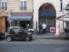 Street in St Germain where The butcher just arrived to deliver some meet!