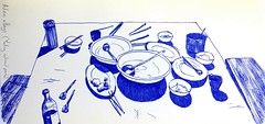 post dinner (Talya.c) Tags: blue dinner pen bench paper sketch drawing spoon bowl sketchbook meal plates bowls bluepen