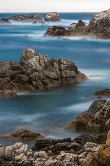 Rocky Ocean (khanusiak) Tags: ocean california longexposure blue sea blur coast us unitedstates shoreline bluewater rocky shore coastline pacificgrove distant californiacoast pointpinos rockyshore hanusiak