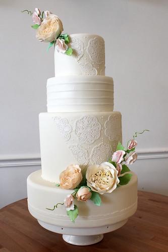 White Sugar Lace with Sugar Flowers Wedding Cake