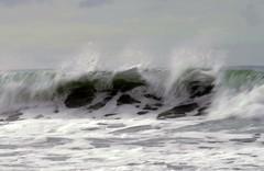 Crest of a wave (Maureen Pierre) Tags: ocean light newzealand christchurch snow beach water wave spencerpark