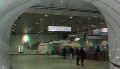metro-station Wilhelminaplein Rotterdam 3D (wim hoppenbrouwers) Tags: metrostation wilhelminaplein rotterdam 3d metro ret anaglyph stereo redcyan tunnel