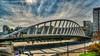 Valencia, Spain: Pont de l'Exposiciό (Puente Calatrava) crossing the Turia Riverbed at the Alameda metro station (nabobswims) Tags: alamedastation bridge es españa hdr highdynamicrange lightroom nabob nabobswims photomatix pontdelexposiό puentecalatrava sel18105g sonya6000 spain valencia valència