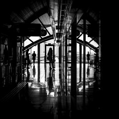 Waiting in light (tomabenz) Tags: noiretblanc urban light shadow street photography dubai contrast bnw reflection bw streetview black white subway monochrome sony a7rm2 blackandwhite lightandshadow sonya7rm2 streetphotography