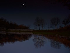 because the night (robra shotography []O]) Tags: reflections fence trees water moon twilight upsidedown