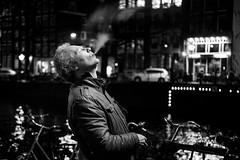 Smoke in the night (- interact -) Tags: amsterdam spui smoke weed stranger candid street fuji fujifilm xe2 prime 50mm 35mm