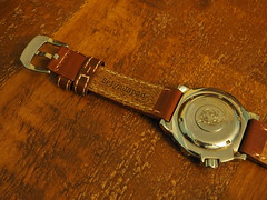 SeiyaJapan cowhide strap on my Seiko Orange Monster (iamthefinn) Tags: seiyajapan oily cowhide strap orange monster seiko leather