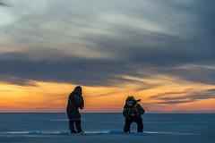 Ice fishers at dusk (Janne Herva) Tags: auringonlasku cloud couple dusk evening freetime harrastukset human ice icefishing ihminen ilta jää landscape maisema merimaisema pariskunta pilkkiminen pilvet sealandscape sky sunset taivas vapaaaika