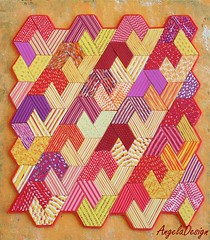 Polymer clay Quilt 2 (Angela.B) Tags: polymerclay polymer pattern walldecor wallhanding quilt quilted hexagon trapeze triangles colorful multicolor mosaic hotcolors yellow red purple texture textured creation combination