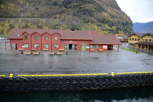 Flåm port where boarded the ferry that took us through the Nærøyfjord