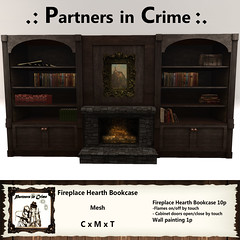 Fireplace Hearth Bookcase (partnersincrime.sl) Tags: mesh cabinet displaycabinet bookcase bookshelf hearth medieval library livingroom furnitureset stonefireplace castle office gorean fantasy antique