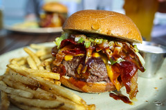 Burger w/ Candied Bacon, Cheddar, Lettuce, and Sweet & Spicy BBQ - Table 9 (sheryip) Tags: food cheese table bacon yum sweet burger 9 bbq delicious spicy cheddar morgantown candied