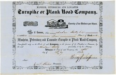 Manheim, Petersburg, and Lancaster Turnpike or Plank Road Company, Stock Certificate, Lancaster County, Pa., 1852 (Alan Mays) Tags: ephemera stockcertificates sharecertificates certificates paper printed stocks shares scripophily manheimpetersburgandlancasterturnpike turnpikecompanies companies turnpikes roads tollroads plankroads stagecoaches carriages horses animals scrolls scrollwork illustrations vignettes borders fillintheblanks route72 pennsylvaniaroute72 paroute72 manheim petersburg eastpetersburg lancaster pa lancastercounty pennsylvania may14 1852 1850s 19thcentury nineteenthcentury victorian antique old vintage typefaces type typography fonts johnbear baer johnbaer steampowerpress steampress steamprinting