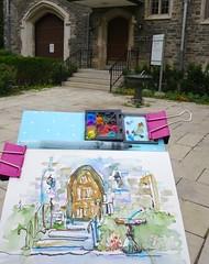 """sundial"" - with eyeshadow watercolour kit (Nora MacPhail) Tags: door urban pen ink sundial wash watercolour sketchers micronpen urbansketchers"