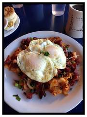 Homemade corned beef hash with over easy eggs. (lamarstyle) Tags: newmexico santafe breakfast cornedbeefhash 2015 lamarstyle eggsovereasy thepantry iphone5 iphoneography