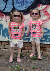 Hanna and Petra (Regina Turi) Tags: girls 3 cute girl hair children graffiti twins nikon pretty child little adorable kind blonde almost they years minnie lovely minniemouse szeged cutiest nikonlenses nikonphotography nikonphotographers nikond3100
