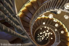 Heal's Brewer Staircase Looking Down (Nick Biswell) Tags: wood london spiral lights wooden unitedkingdom honey staircase heals greaterlondon honeycolored honeycoloured tamronaf1935mmf3545 cecilbrewer sonya580 brewerstaircase healsfurniturestore photo242015