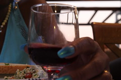 greek wine (William Sc) Tags: blue red glass lady project table greek wine drink days eat 365 365daysproject