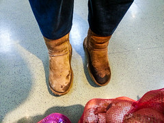 Wearing size W5 Uggs in the Supermarket. (name_m82) Tags: comfortableshoes decrepitshoes holeyshoes looseshoes oldboots oldshoes snugshoes tightshoes tornshoes verysmallshoes wornshoes wetshoes wetfeet
