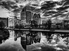 Dramatic skyline / The Hague (zilverbat.) Tags: denhaag blackandwhite image skyline monochrome blackwhitephotos hofstad thehague thenetherlands timelife buildings innercity urbanvibes reflections bw blackwhite wallpaper mono modern architecture reflectie town canon city citytrip visit tripadvisor hotspot holland noir blanco clouds zilverbat zwartwitfotografie zwartwit sky vulpen ministeries ministerie cs centraal station vws vrom ngc nightlights lights vijver europe europa skischans justitie justice ns