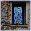 Petite fenêtre bleue avec déco en fer forgé (bleumarie) Tags: nikon carré formatcarré