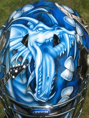 "Guitar Hero Mask 1 (""Gutz"") Tags: guitar hero goalie mask airbrush airbrushed airbrushing custom paint dragon rock roll helmet hockey"