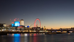 Sleepless in London (OR_U) Tags: 2016 oru uk london river riverthames le longexposure sunset londoneye westminster bigben neonjungle waterloobridge nationaltheatre southbankcentre boats 169 widescreen stars red blue city