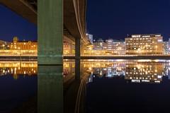 (J Schmetzer) Tags: bridge cityscape reflection mirror calm pillars concrete urban nightshot stockholm sweden norrmalm klarasjö