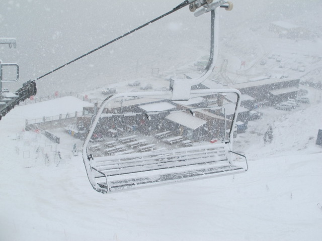 Snowing at Base, Treble Cone Wanaka NZ (28 August 2013)