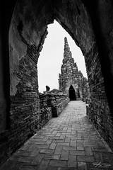 Wat Chaiwatthanaram (Rkitichai) Tags: travel blackandwhite bw building monochrome architecture thailand temple ruins outdoor tourist historical attraction ayutthaya rampart watchaiwatthanaram phranakornsriayutthaya travelnutzmn