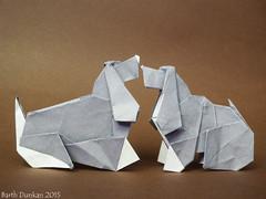 Cocker lying and sitting - Barth Dunkan (diagram) (Magic Fingaz) Tags: perro cocker origamidog origamichien