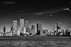 /Canary Warf/London/Marina/Thames River/View/B&W (www.janwlodarczyk.co.uk) Tags: city uk travel blue light sunset england urban money reflection building london tower window water glass thames skyline architecture modern skyscraper buildings river outdoors corporate office twilight downtown cityscape exterior dusk contemporary district steel capital headquarters landmark scene illuminated financialdistrict business wharf docklands block tall canary financial finance destinations