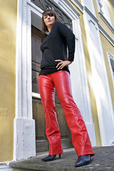 Dominyka 20 (The Booted Cat) Tags: red sexy girl leather model shiny pants tight