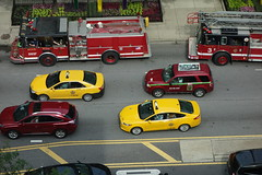 perfect pairings (KevinIrvineChi) Tags: road above street red chicago streets color green cars car yellow fire grey twins taxi gray fromabove firetruck vehicles pairs fireengine ladder michiganavenue lookingdown emergency suv cabs firedepartment taxicab taxicabs vantagepoint magnificentmile cfd redyellow chicagoist fraternaltwins matched matchymatchy hookandladder
